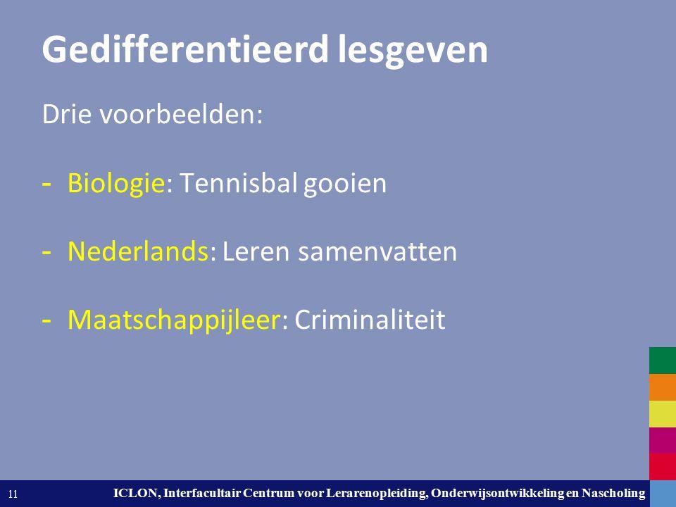 Leiden University. The university to discover. ICLON, Interfacultair Centrum voor Lerarenopleiding, Onderwijsontwikkeling en Nascholing 11 Gedifferent