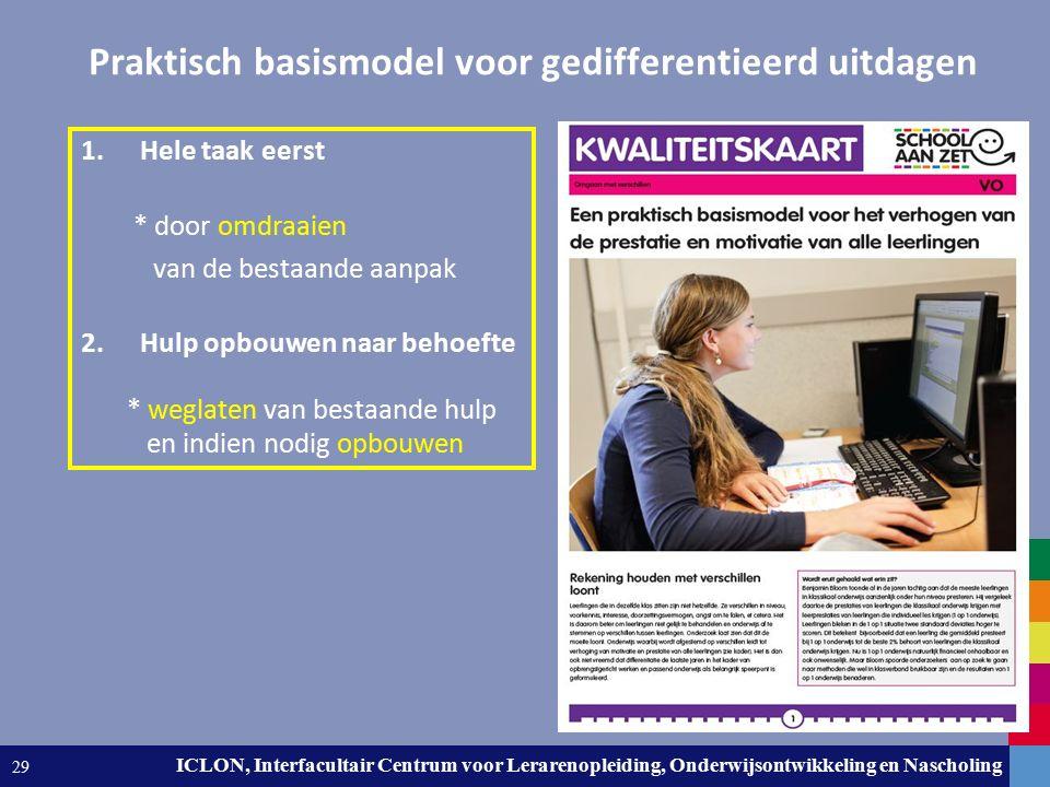 Leiden University. The university to discover. ICLON, Interfacultair Centrum voor Lerarenopleiding, Onderwijsontwikkeling en Nascholing 29 Praktisch b