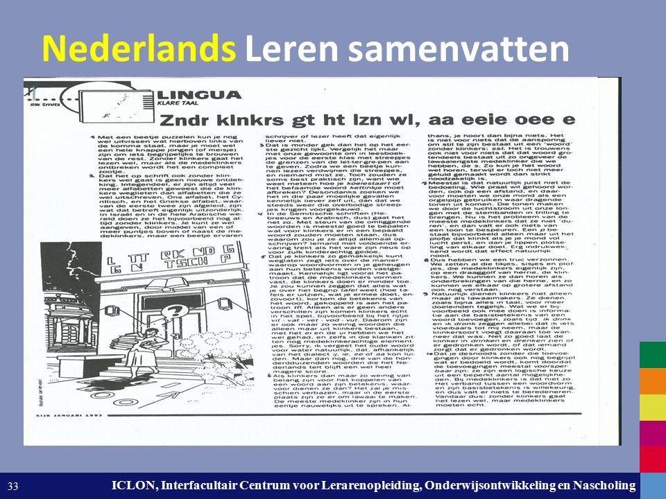 Leiden University. The university to discover. ICLON, Interfacultair Centrum voor Lerarenopleiding, Onderwijsontwikkeling en Nascholing 33 Nederlands