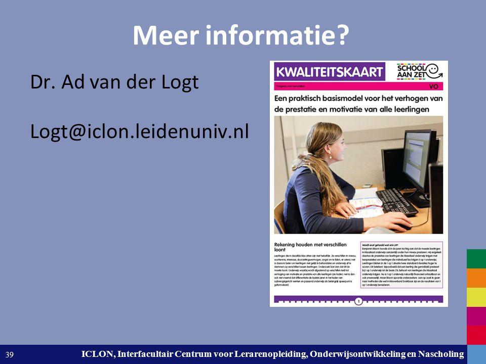Leiden University. The university to discover. ICLON, Interfacultair Centrum voor Lerarenopleiding, Onderwijsontwikkeling en Nascholing 39 Meer inform