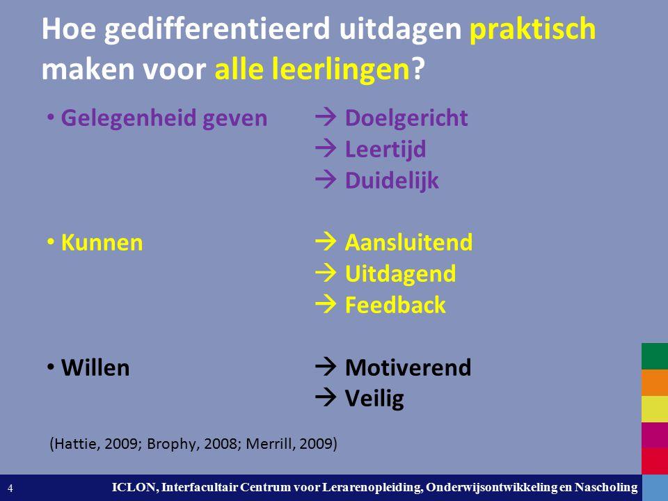 Leiden University. The university to discover. ICLON, Interfacultair Centrum voor Lerarenopleiding, Onderwijsontwikkeling en Nascholing 4 Hoe gediffer