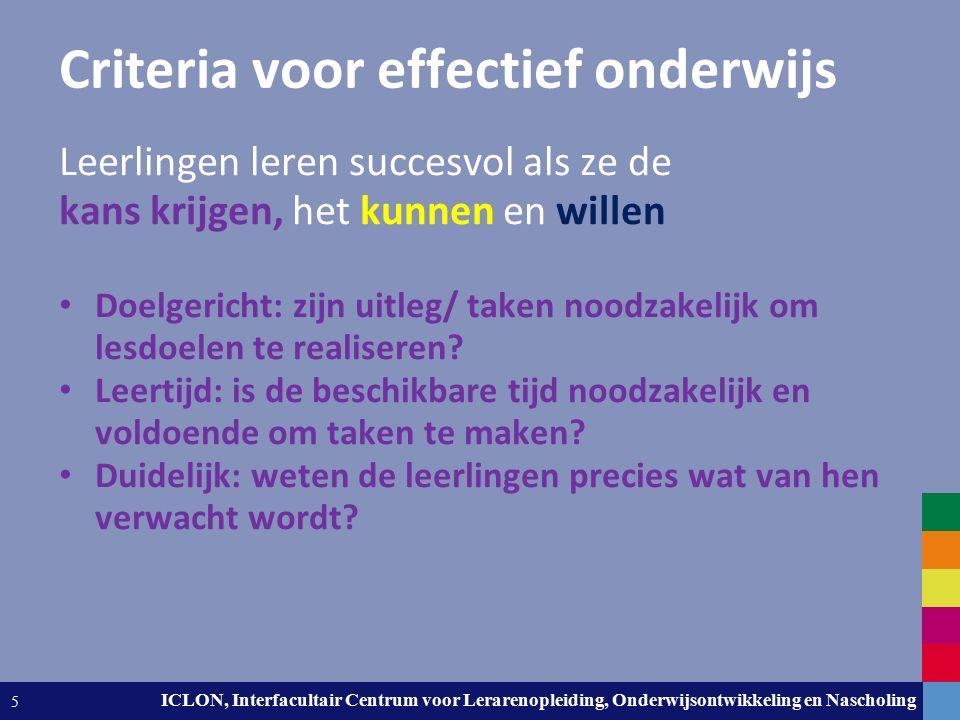 Leiden University. The university to discover. ICLON, Interfacultair Centrum voor Lerarenopleiding, Onderwijsontwikkeling en Nascholing 5 Criteria voo