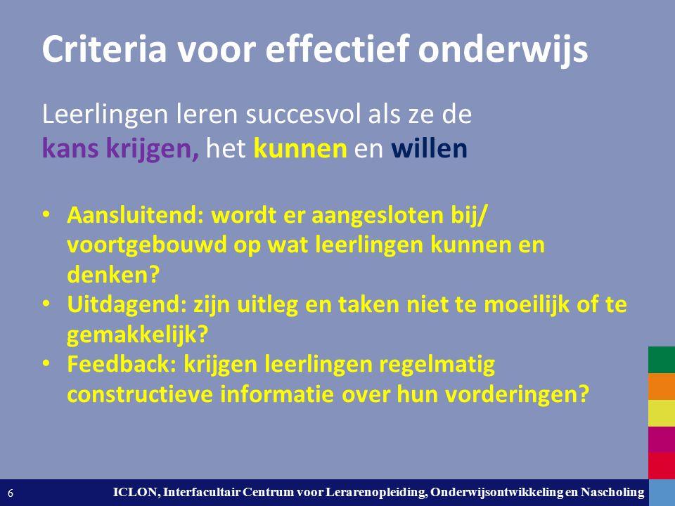 Leiden University. The university to discover. ICLON, Interfacultair Centrum voor Lerarenopleiding, Onderwijsontwikkeling en Nascholing 6 Criteria voo