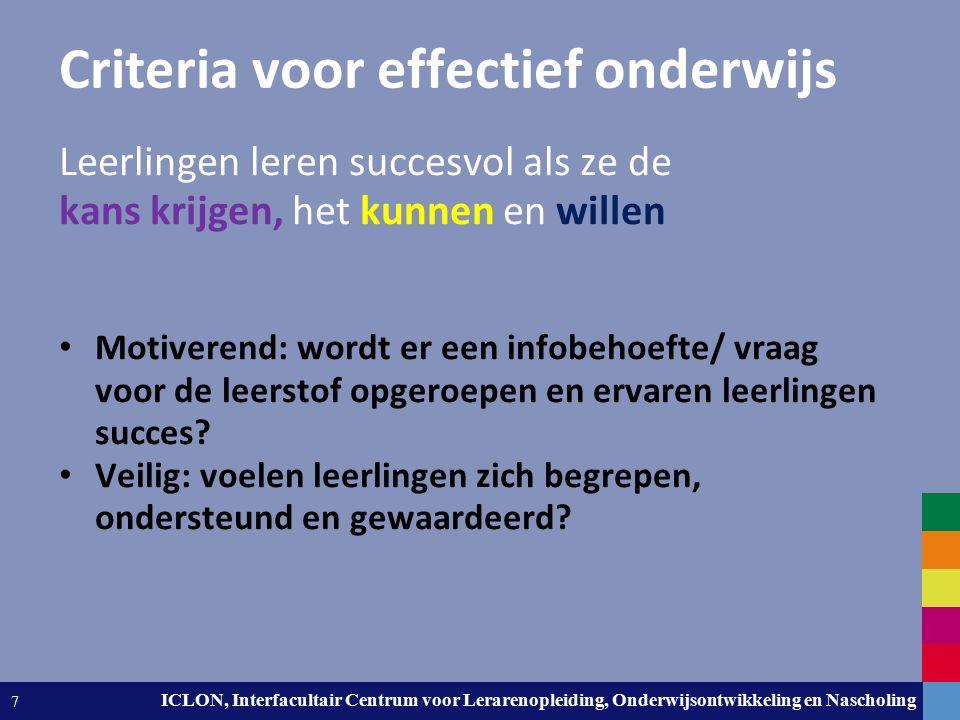 Leiden University. The university to discover. ICLON, Interfacultair Centrum voor Lerarenopleiding, Onderwijsontwikkeling en Nascholing 7 Criteria voo