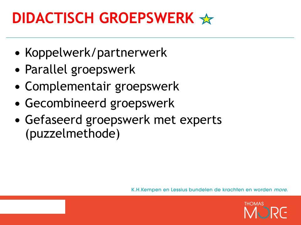 Koppelwerk/partnerwerk Parallel groepswerk Complementair groepswerk Gecombineerd groepswerk Gefaseerd groepswerk met experts (puzzelmethode) DIDACTISC