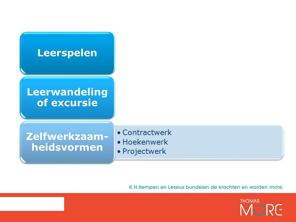 Leerspelen Leerwandeling of excursie Contractwerk Hoekenwerk Projectwerk Zelfwerkzaam- heidsvormen