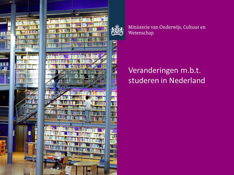 Veranderingen m.b.t. studeren in Nederland