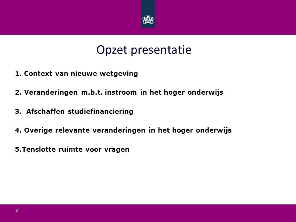 2 Opzet presentatie 1. Context van nieuwe wetgeving 2.