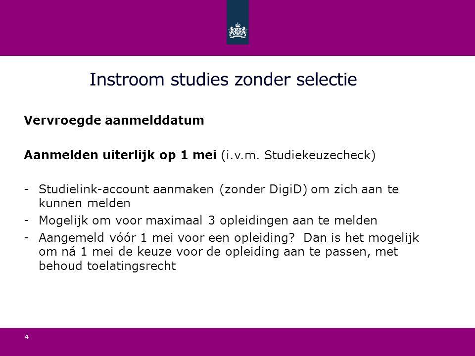 Instroom studies zonder selectie Vervroegde aanmelddatum Aanmelden uiterlijk op 1 mei (i.v.m.