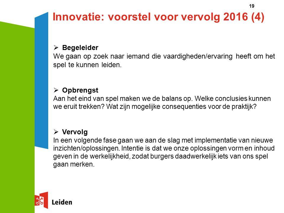 19 Innovatie: voorstel voor vervolg 2016 (4)  Begeleider We gaan op zoek naar iemand die vaardigheden/ervaring heeft om het spel te kunnen leiden.