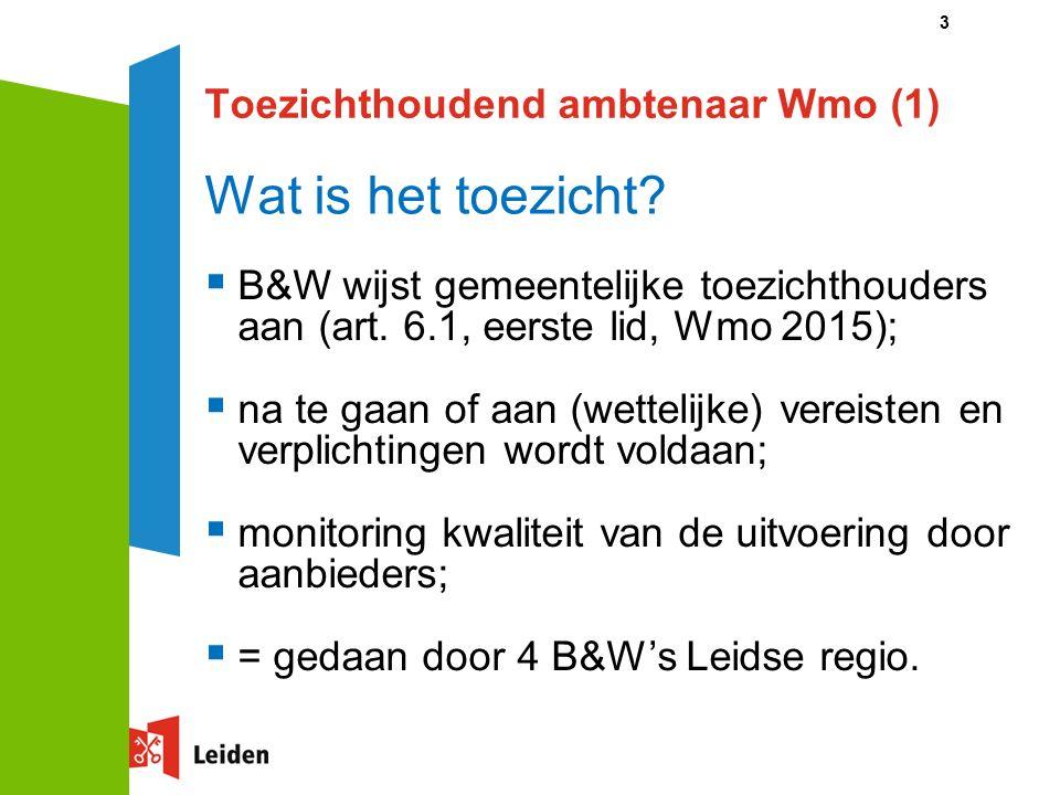 Toezichthoudend ambtenaar Wmo (1) 3 Wat is het toezicht.
