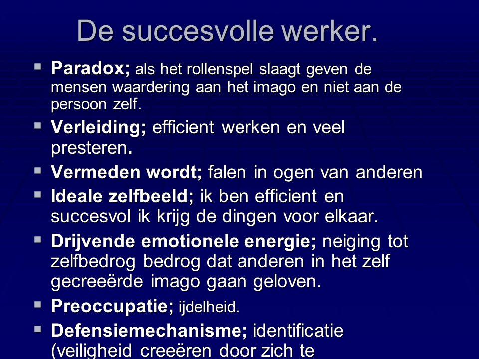 De succesvolle werker..  Aandacht; doen, taken, projecten, resultaten en winnen.