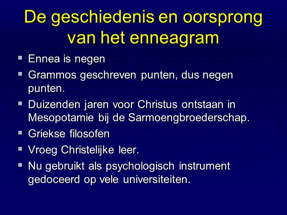 De geschiedenis en oorsprong van het enneagram  Ennea is negen  Grammos geschreven punten, dus negen punten.