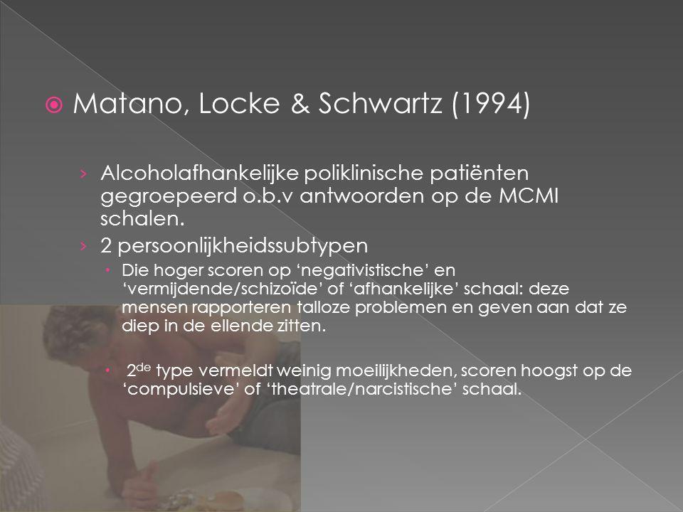  Matano, Locke & Schwartz (1994) › Alcoholafhankelijke poliklinische patiënten gegroepeerd o.b.v antwoorden op de MCMI schalen.