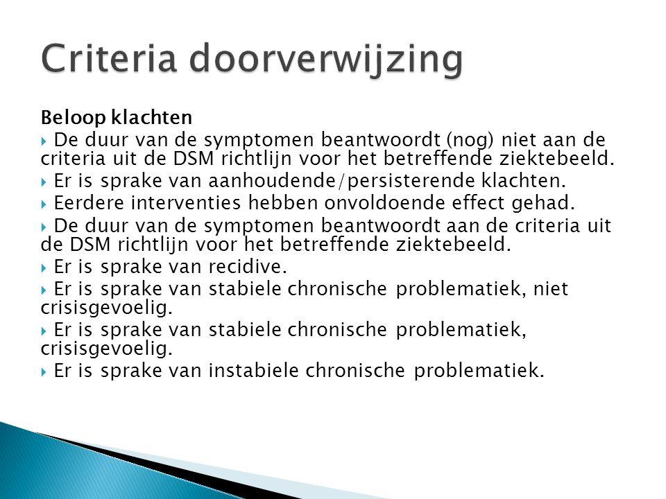Beloop klachten  De duur van de symptomen beantwoordt (nog) niet aan de criteria uit de DSM richtlijn voor het betreffende ziektebeeld.  Er is sprak