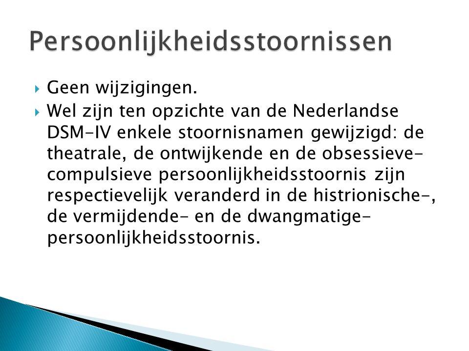 Geen wijzigingen.  Wel zijn ten opzichte van de Nederlandse DSM-IV enkele stoornisnamen gewijzigd: de theatrale, de ontwijkende en de obsessieve- c