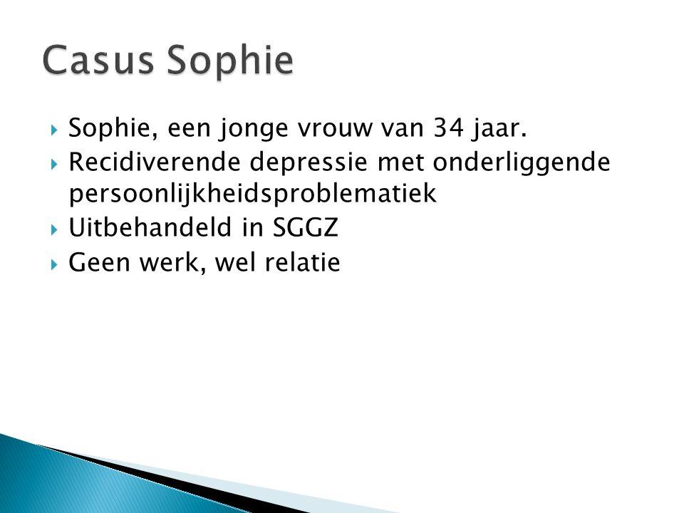  Sophie, een jonge vrouw van 34 jaar.  Recidiverende depressie met onderliggende persoonlijkheidsproblematiek  Uitbehandeld in SGGZ  Geen werk, we