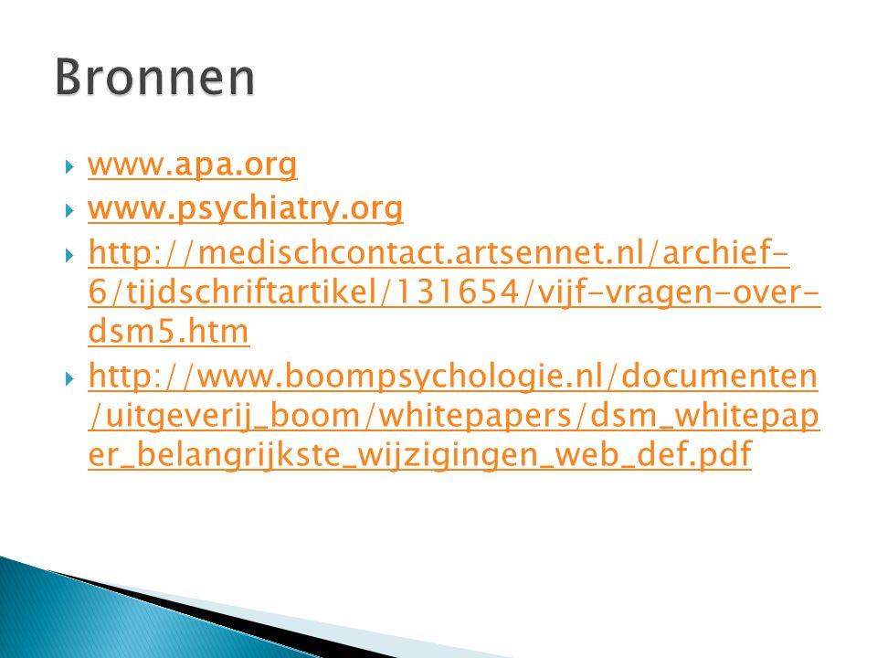  www.apa.org www.apa.org  www.psychiatry.org www.psychiatry.org  http://medischcontact.artsennet.nl/archief- 6/tijdschriftartikel/131654/vijf-vragen-over- dsm5.htm http://medischcontact.artsennet.nl/archief- 6/tijdschriftartikel/131654/vijf-vragen-over- dsm5.htm  http://www.boompsychologie.nl/documenten /uitgeverij_boom/whitepapers/dsm_whitepap er_belangrijkste_wijzigingen_web_def.pdf http://www.boompsychologie.nl/documenten /uitgeverij_boom/whitepapers/dsm_whitepap er_belangrijkste_wijzigingen_web_def.pdf
