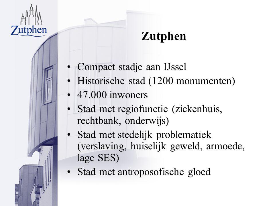 Zutphen Compact stadje aan IJssel Historische stad (1200 monumenten) 47.000 inwoners Stad met regiofunctie (ziekenhuis, rechtbank, onderwijs) Stad met stedelijk problematiek (verslaving, huiselijk geweld, armoede, lage SES) Stad met antroposofische gloed