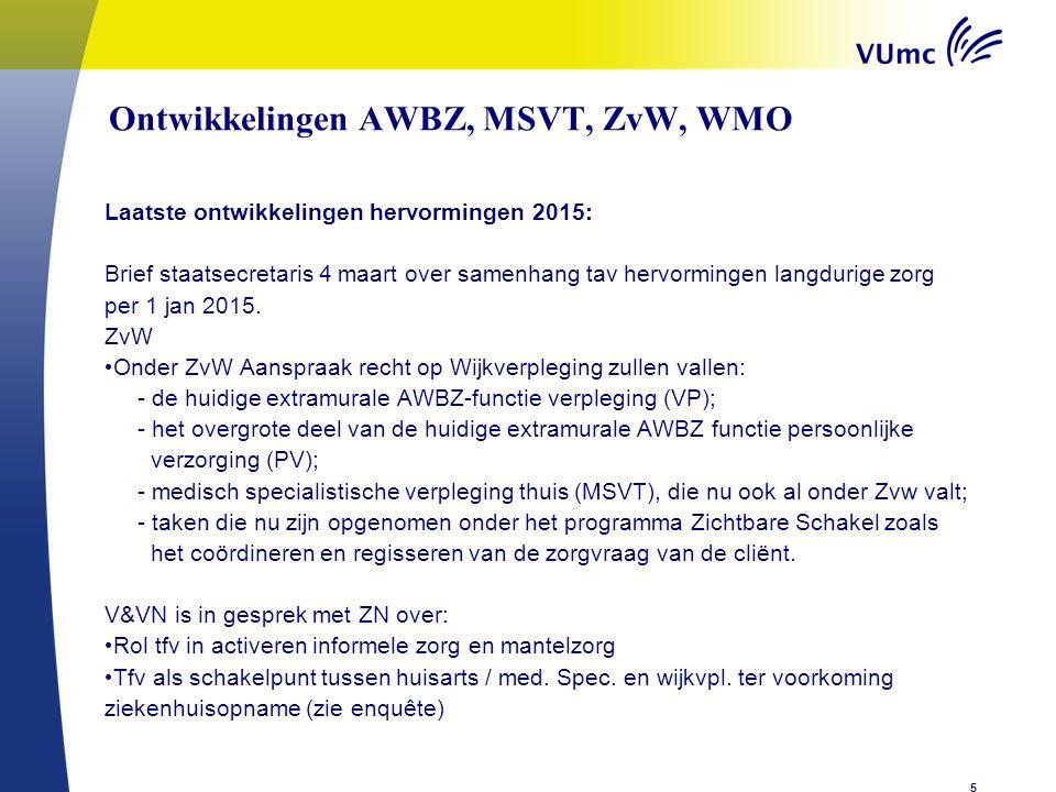 Ontwikkelingen AWBZ, MSVT, ZvW, WMOenen n zorg Laatste ontwikkelingen hervormingen 2015: Brief staatsecretaris 4 maart over samenhang tav hervormingen langdurige zorg per 1 jan 2015.