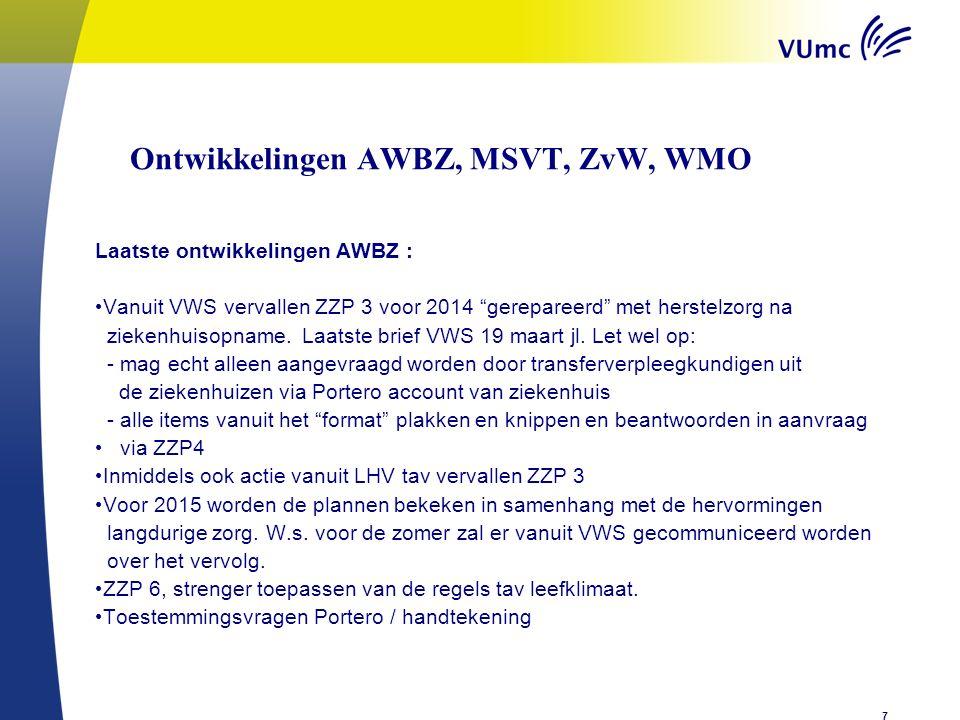 Ontwikkelingen AWBZ, MSVT, ZvW, WMOen Laatste ontwikkelingen AWBZ : Vanuit VWS vervallen ZZP 3 voor 2014 gerepareerd met herstelzorg na ziekenhuisopname.