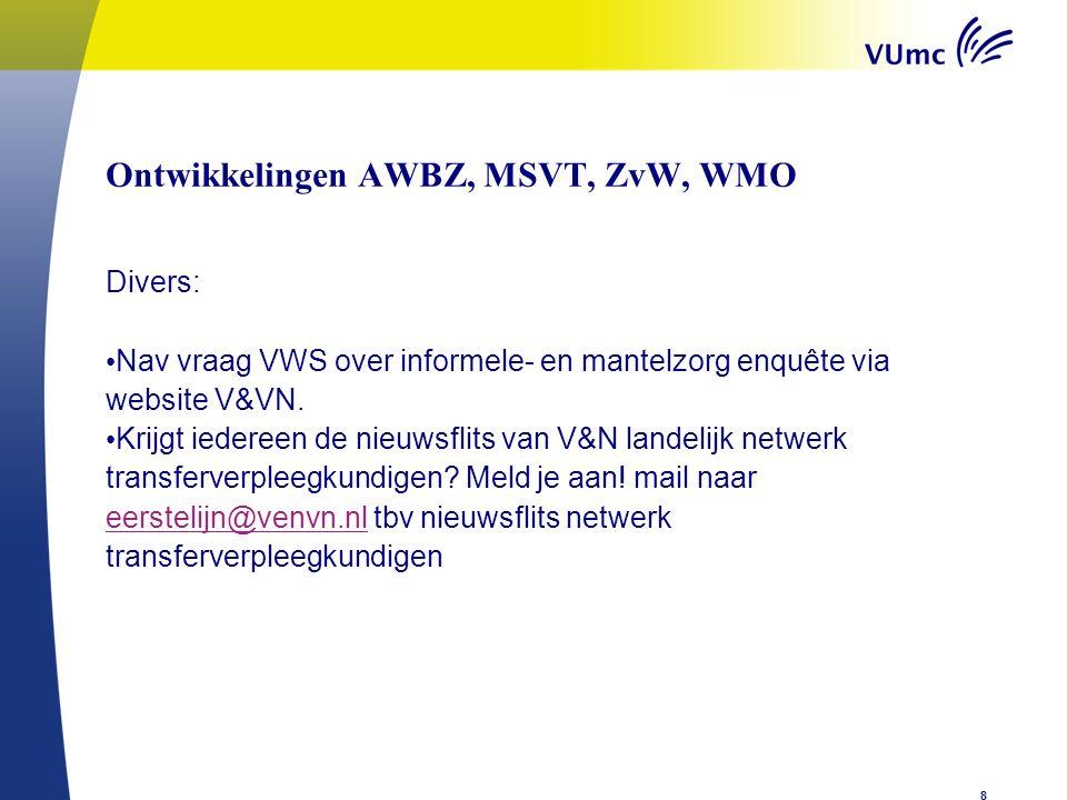 Ontwikkelingen AWBZ, MSVT, ZvW, WMOen Divers: Nav vraag VWS over informele- en mantelzorg enquête via website V&VN.