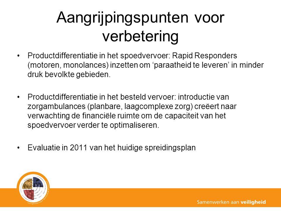 Aangrijpingspunten voor verbetering Productdifferentiatie in het spoedvervoer: Rapid Responders (motoren, monolances) inzetten om 'paraatheid te leveren' in minder druk bevolkte gebieden.