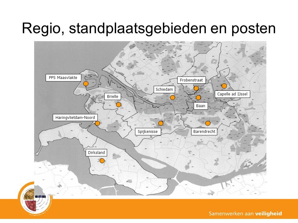Regio, standplaatsgebieden en posten Haringvlietdam-Noord Dirksland Spijkenisse Brielle Schiedam Barendrecht Capelle ad IJssel Frobenstraat Baan PPS Maasvlakte