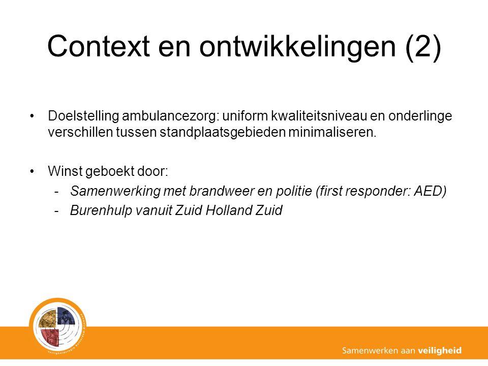 Context en ontwikkelingen (2) Doelstelling ambulancezorg: uniform kwaliteitsniveau en onderlinge verschillen tussen standplaatsgebieden minimaliseren.