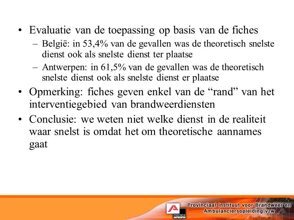 Evaluatie van de toepassing op basis van de fiches –België: in 53,4% van de gevallen was de theoretisch snelste dienst ook als snelste dienst ter plaatse –Antwerpen: in 61,5% van de gevallen was de theoretisch snelste dienst ook als snelste dienst er plaatse Opmerking: fiches geven enkel van de rand van het interventiegebied van brandweerdiensten Conclusie: we weten niet welke dienst in de realiteit waar snelst is omdat het om theoretische aannames gaat
