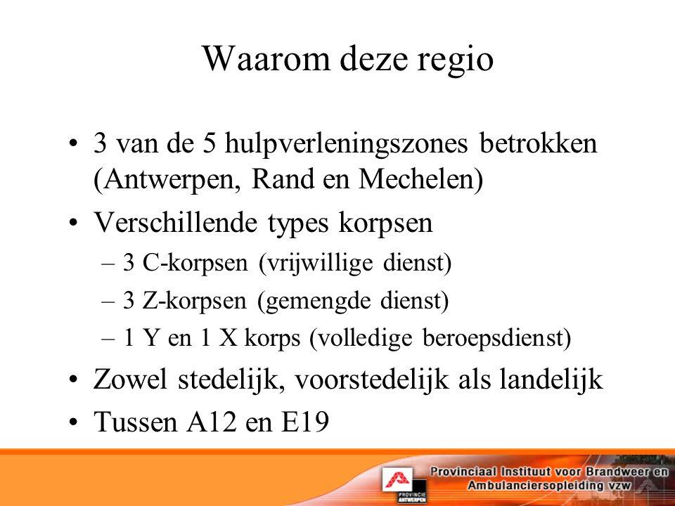 Waarom deze regio 3 van de 5 hulpverleningszones betrokken (Antwerpen, Rand en Mechelen) Verschillende types korpsen –3 C-korpsen (vrijwillige dienst) –3 Z-korpsen (gemengde dienst) –1 Y en 1 X korps (volledige beroepsdienst) Zowel stedelijk, voorstedelijk als landelijk Tussen A12 en E19