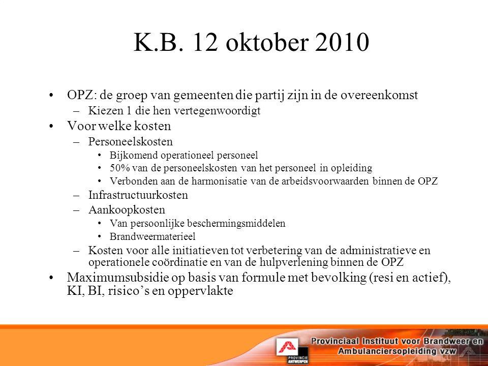 K.B. 12 oktober 2010 OPZ: de groep van gemeenten die partij zijn in de overeenkomst –Kiezen 1 die hen vertegenwoordigt Voor welke kosten –Personeelsko