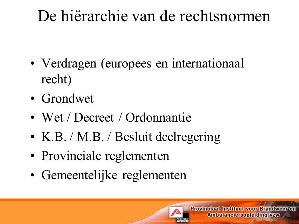 De hiërarchie van de rechtsnormen Verdragen (europees en internationaal recht) Grondwet Wet / Decreet / Ordonnantie K.B.