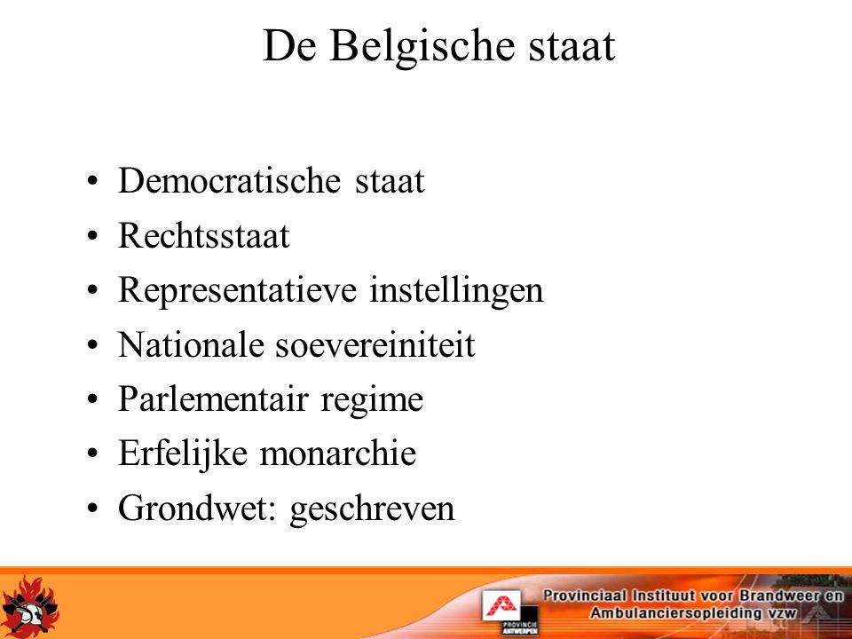 De Belgische staat Democratische staat Rechtsstaat Representatieve instellingen Nationale soevereiniteit Parlementair regime Erfelijke monarchie Grondwet: geschreven