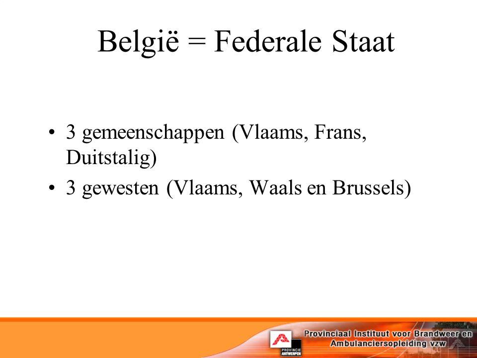 België = Federale Staat 3 gemeenschappen (Vlaams, Frans, Duitstalig) 3 gewesten (Vlaams, Waals en Brussels)