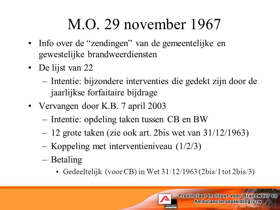 """M.O. 29 november 1967 Info over de """"zendingen"""" van de gemeentelijke en gewestelijke brandweerdiensten De lijst van 22 –Intentie: bijzondere interventi"""