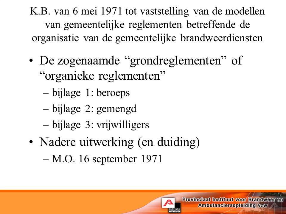 K.B. van 6 mei 1971 tot vaststelling van de modellen van gemeentelijke reglementen betreffende de organisatie van de gemeentelijke brandweerdiensten D