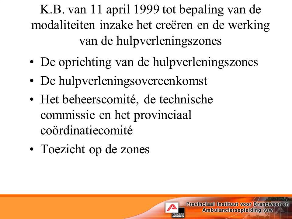 K.B. van 11 april 1999 tot bepaling van de modaliteiten inzake het creëren en de werking van de hulpverleningszones De oprichting van de hulpverlening