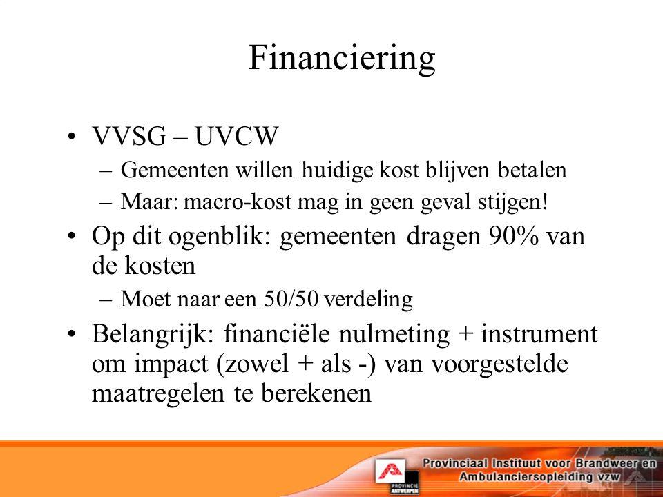 Financiering VVSG – UVCW –Gemeenten willen huidige kost blijven betalen –Maar: macro-kost mag in geen geval stijgen.