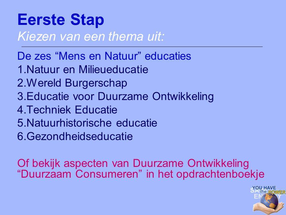 """Eerste Stap Kiezen van een thema uit: De zes """"Mens en Natuur"""" educaties 1.Natuur en Milieueducatie 2.Wereld Burgerschap 3.Educatie voor Duurzame Ontwi"""