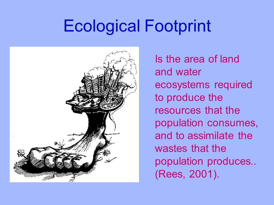Ecological Footprint Is the area of land and water ecosystems required to produce the resources that the population consumes, and to assimilate the wastes that the population produces..