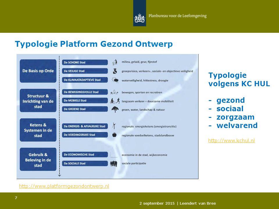 Typologie Platform Gezond Ontwerp 2 september 2015 | Leendert van Bree 7 http://www.platformgezondontwerp.nl Typologie volgens KC HUL - gezond - sociaal - zorgzaam - welvarend http://www.kchul.nl