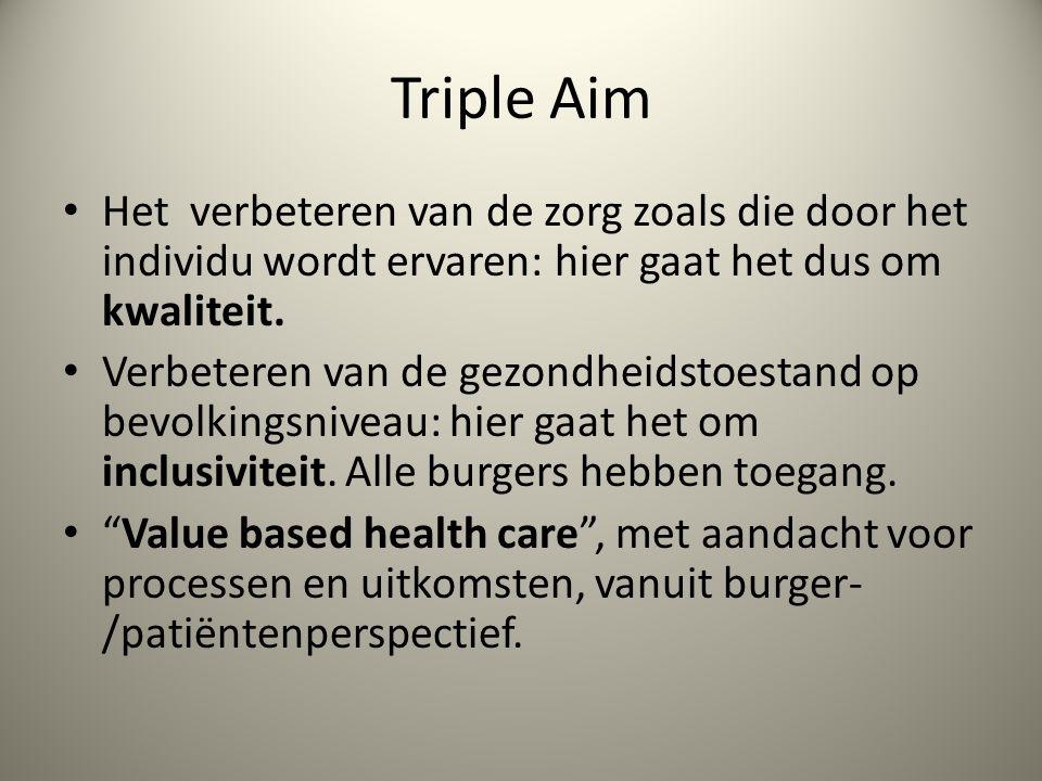 Triple Aim Het verbeteren van de zorg zoals die door het individu wordt ervaren: hier gaat het dus om kwaliteit.
