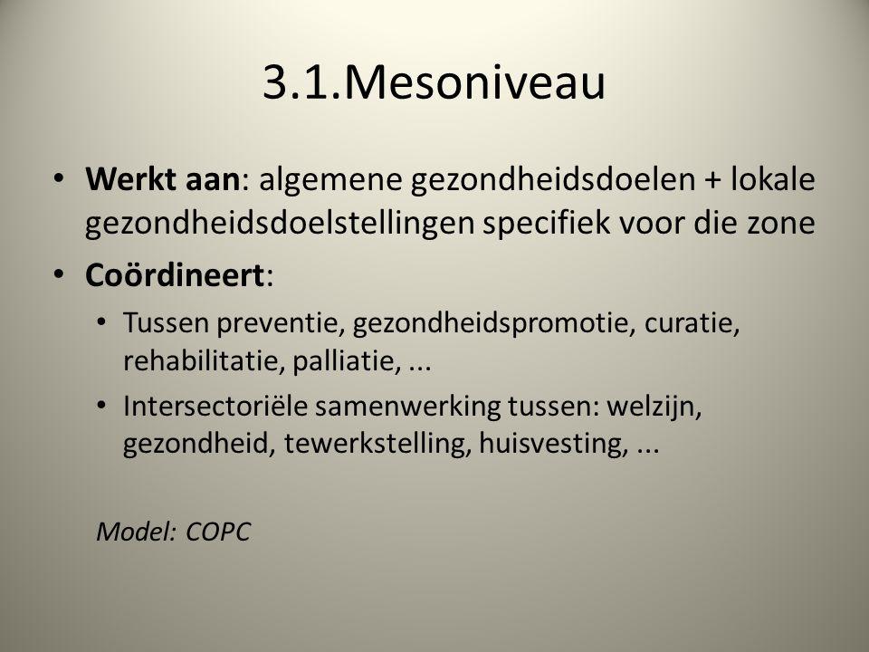3.1.Mesoniveau Werkt aan: algemene gezondheidsdoelen + lokale gezondheidsdoelstellingen specifiek voor die zone Coördineert: Tussen preventie, gezondheidspromotie, curatie, rehabilitatie, palliatie,...