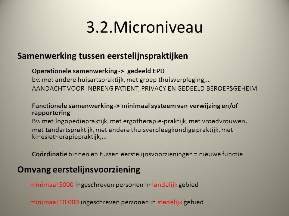 3.2.Microniveau Samenwerking tussen eerstelijnspraktijken Operationele samenwerking -> gedeeld EPD bv.