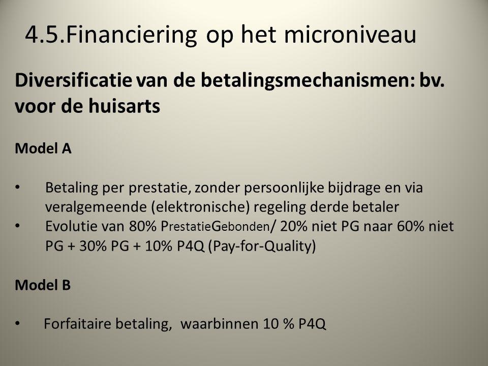 4.5.Financiering op het microniveau Diversificatie van de betalingsmechanismen: bv.