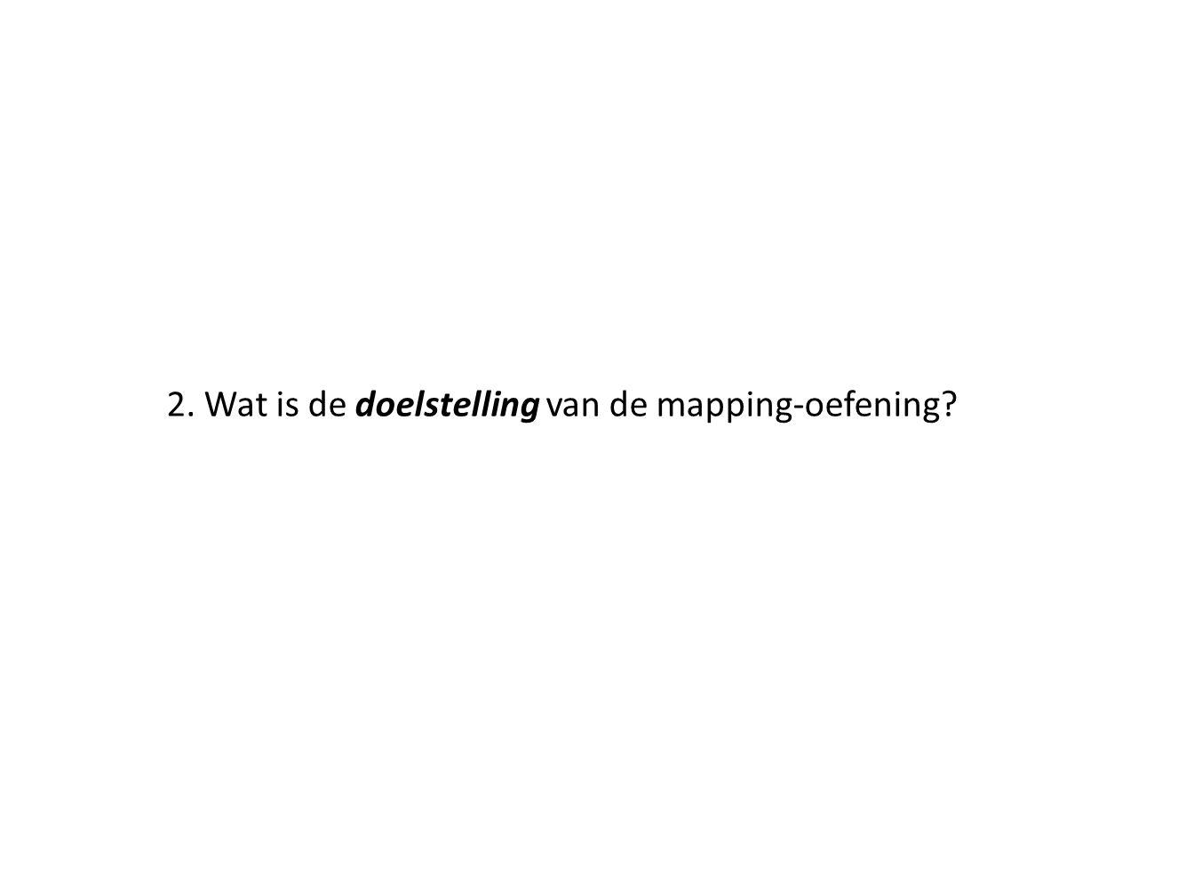 2. Wat is de doelstelling van de mapping-oefening