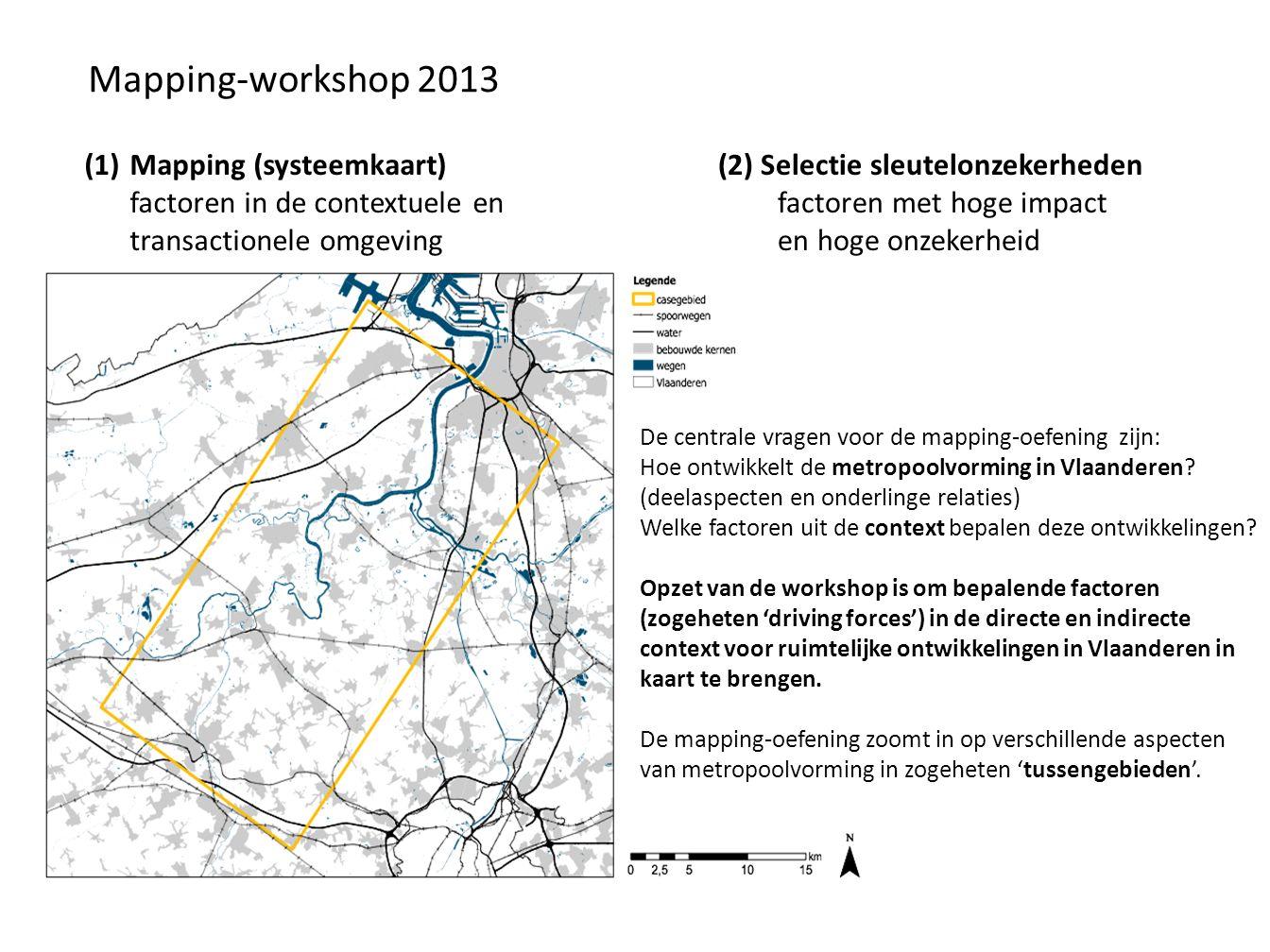 Mapping-workshop 2013 (1)Mapping (systeemkaart) factoren in de contextuele en transactionele omgeving (2) Selectie sleutelonzekerheden factoren met hoge impact en hoge onzekerheid De centrale vragen voor de mapping-oefening zijn: Hoe ontwikkelt de metropoolvorming in Vlaanderen.