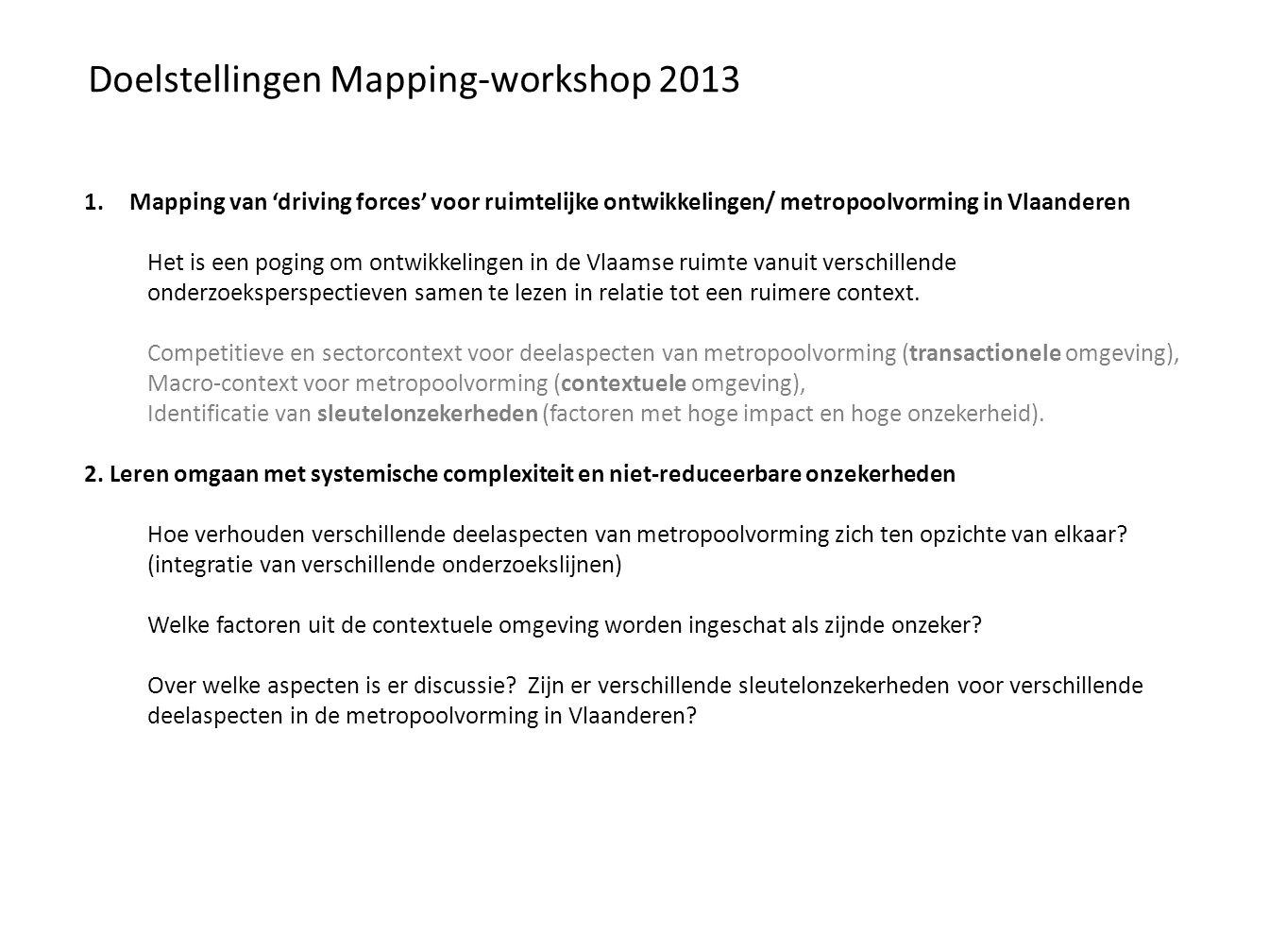 Doelstellingen Mapping-workshop 2013 1.Mapping van 'driving forces' voor ruimtelijke ontwikkelingen/ metropoolvorming in Vlaanderen Het is een poging om ontwikkelingen in de Vlaamse ruimte vanuit verschillende onderzoeksperspectieven samen te lezen in relatie tot een ruimere context.