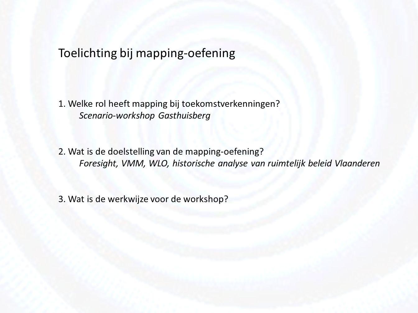 Mapping als onderdeel van toekomstverkenningen (1)Mapping Longlist van factoren in de contextuele en transactionele omgeving, Voorgesteld als systeemkaart (onderlinge relaties, clusters) (2) Sleutelonzekerheden Selectie van factoren met hoge impact en hoge onzekerheid Voor het ontwerp van een scenarisch kader (3) Scenario's Variaties van de context ( verschillende wereldbeelden) (4) Strategiebepaling voor specifieke vraagstukken (5) Test-tunnel Testen van strategieën in verschillende scenario's Voorgesteld als matrix (strategieën/ scenario's) SCEN 1SCEN 2SCEN 3SCEN 4 L1 L2 L3 E1 E2 E3